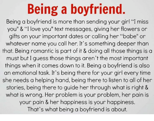 Being a boyfriend for dummies