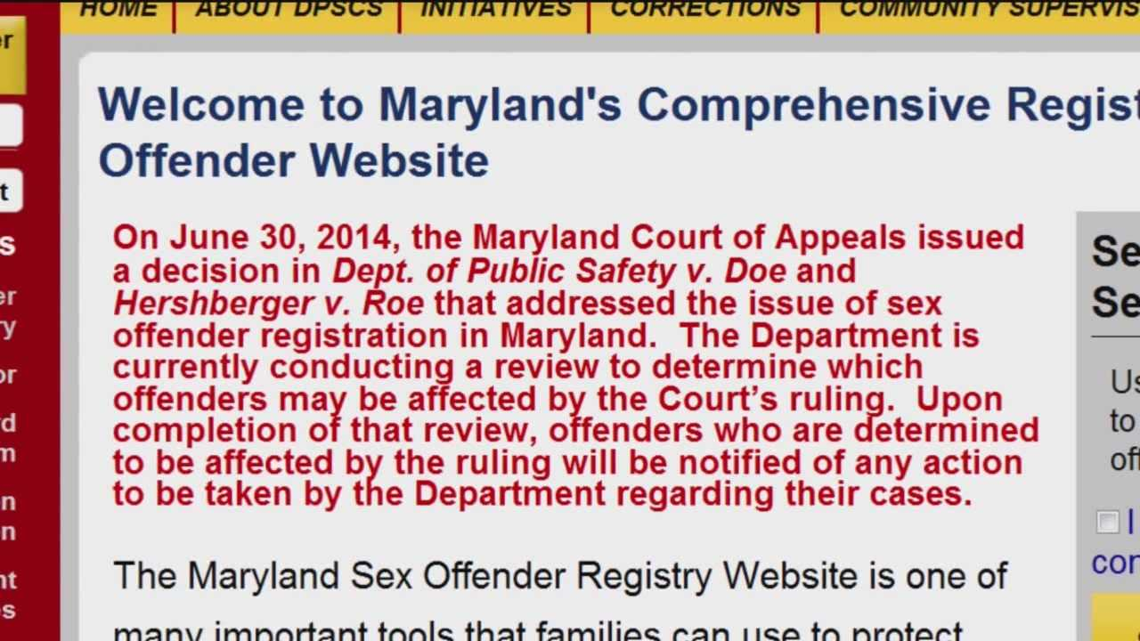 Maryland sex offender registry requirements