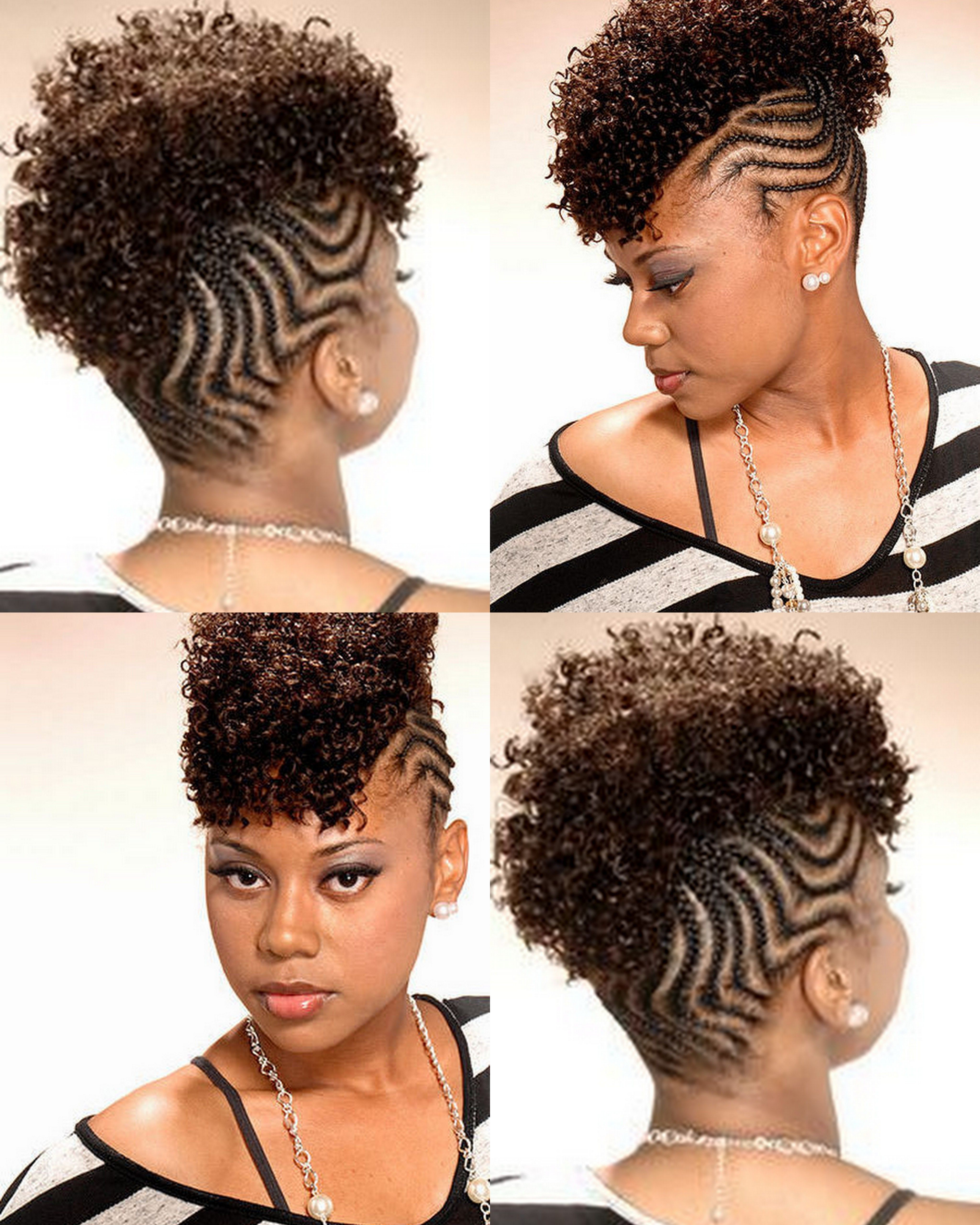 Natural hair braided into a mohawk
